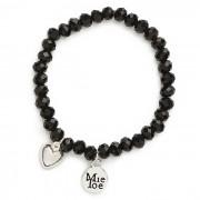 MieToe Armbandje Hart Zwart
