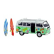 Dickie-Spielzeug 203776000 - Volkswagen Camper Surfer Van Car Transport Model White/Turquoise