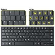 Royal Green KEYBOARD-ENG-STICKER-YLW Glowing Fluorescent Keyboards Stickers for PC Large Lettering Work Easily and Type Faster in Dimly Lit Spaces See Keyboard Clearly Day Night English Neon Yellow