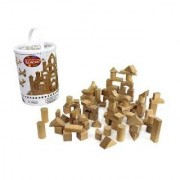 Wooden Blocks - 100 Pc Wood Building Block Set With Carrying Bag And Container (Natural Colored) - 100 Real Wood