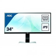 AOC 34 inch Ultra-Wide QHD 3440 x 1440 IPS Monitor, Display Port, HDMI, DVI, VGA, 4 x USB Ports, MHL, Speakers U3477PQU