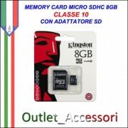 Memory Card Micro sdhc sd 8gb CLASSE 10 KINGSTON Originale in confezione Blister sigillata