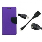 WALLET FLIP CASE COVER FANCY DIARY FLIP CASE COVER For Lenovo S850 PURPLE WITH OTG CABLE