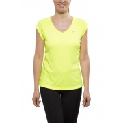 Nike Miler Koszulka do biegania Kobiety SS, V-Neck zielony M Koszulki do biegania
