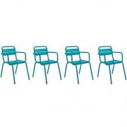 Lote de 4 sillones de exterior diseño aluminio azul ITHAQUE - Miliboo
