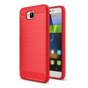 Huawei Enjoy 5 & Y6 Pro Brushed Texture Carbon Fiber TPU Protective Case(Red)