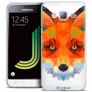 Caseink - Coque Housse Etui Samsung Galaxy J3 2016 (J320) [Crystal Hd Polygon Series Animal - Rigide - Ultra Fin - Imprimé En France] Renard