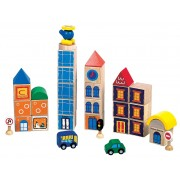 Large City 34 Piece Wooden Block Set by Santoys