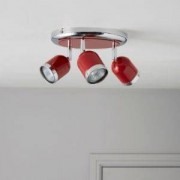 Lights by B&Q Edge Retro Red Gloss 3 Lamp Round Spotlight