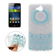 For Huawei Y6 Pro Blue Flower Pattern Transparent Soft TPU Protective Back Cover Case