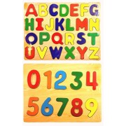 Easter Gift Wooden Puzzles Bundle 2 Items: One Wooden Alphabet Puzzle, One Wooden Numbers Puzzle