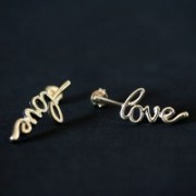 Semi Earring Jewelry Gold Plated Love