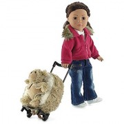 18-inch Doll Luggage | Doll Backpack with Trolley and Detachable Teddy Bear | Fits American Girl Dolls