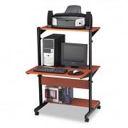 Soho Adjustable Mobile Computer Table, 32w X 31d X 50h, Medium Cherry/black