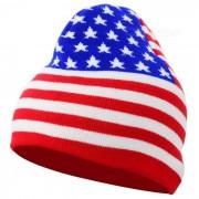 Patron bandera americana casual sombrero tejido de punto - rojo + azul