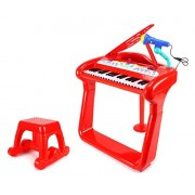 Classical Elegant Piano Kids Childrens Toy Keyboard Musical Instrument Play Set W/ Microphone, Stool, 37 Key Piano, Records & Playbacks Music (Red)