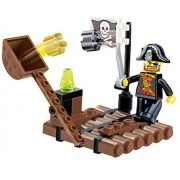 Pirates Raid Sea Hunt - 45 pcs pack of explosive ballistic medieval catapult building blocks with projectiles pirate raft with a one eyed pirate - a must for 6 children in Lego compatible parts