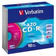 Verbatim CD-R 52X 700MB AZO, Color Slim Case (43308)