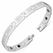 Mágneses, exkluzív, fehér kerámia nemesacél karlánc ékszer