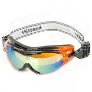 A prueba de viento TR90 Frame PC lente gafas de w / correa elastica - Orange + Negro