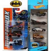 Batman Power Attack Matchbox 3 Car Set & Hot Wheels 5 Car City Pack Batmobile, Joker, Two Face, Batcopter 8 Die Cast Cars