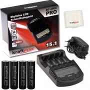 Kraftmax BC-4000 Pro Cargador con 4 baterías Eneloop Pro XX AA
