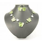 Draad ketting + oorbel met groene vlinders