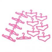 12 Piezas Plástico Rosa Perchas de Ropa Accesorios para Barbie Doll Dress Patrones al Azar Mixtos