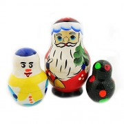 Russian Hand Painted Father Frost Santa Claus Doll Snowman Christmas
