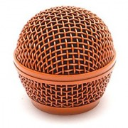 Seismic Audio SA-M30Grille-Orange Replacement Orange Steel Mesh Microphone Grill Head for Shure SM58 Shure SV100