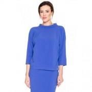 Moda SU Niebieska bluzka z krótkim golfikiem - Moda SU