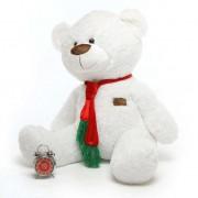 White 5 Feet Special Christmas Teddy Bear with tie muffler