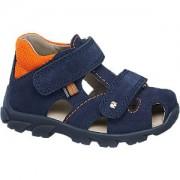 Blauwe suede sandaal klittenband