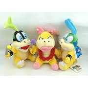 "Super Mario Bros Koopalings Larry & Iggy & Wendy O. Koopa 6"" 3pcs/set Anime Animal Stuffed Plush Plushies Doll Toys by Made in CHINA"