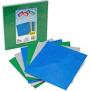 Brick Building Base Plates By SCS - Large 10 x10 Baseplates (6 Pack Variety Pack) - Tight Fit with All Major Brick Sets
