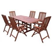 Kerti garnitúra bővíthető asztallal, 6 személyes