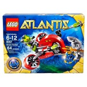 Lego Atlantis Series Set # 8057 - WRECK RAIDER with Flick Launching Harpoons Blue Atlantis Treasure Key Shark Warrior Minifigure with Trident and Deep-Sea Diver Minifigure (Total Pieces: 64)