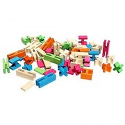 Luco Wooden Building Bricks/Blocks Eco-Friendly Educational Constructions Toy Set 100% All Natural Rubber Wood Toxin Fre