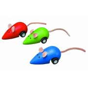 Plan Toys Moving Pull Back Clockwork Wooden Mouse - 6 Pack