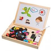 JZK® Educativa del juego del juguete no tóxico rompecabezas de madera con pizarra de la pizarra, los imanes, marcador, tiza, borrador, creativa y desarrollar habilidades intelectuales y creativas del bebé, el regalo perfecto para niños mayores de 3 años(D