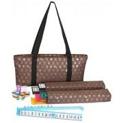 Mah Jongg Full Set Brown Designer Logo Soft Case With 166 White Tiles And Four Color Pusher Racks