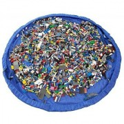 Agooding Childrens 60 Inches Diameter Play Floor Mat Kids Toy Storage Bag Organizer For Lego Building Block Toys Blue