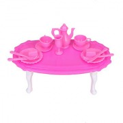 Dining Room Furniture Dining Table Set for Barbie Doll - Shocking Pink And White