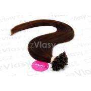 Indické vlasy na metodu keratin odstín 2 Délka: 50 cm, Hmotnost: 0,8 g/pramínek, REMY