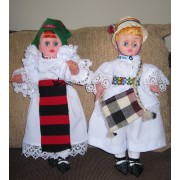 Pair of dolls / man and woman in traditional costumes from Maramures