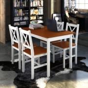 vidaXL Dřevěný stůl a 4 dřevěné židle hnědá barva