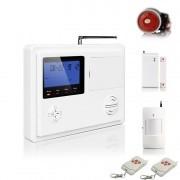 """IP-AP017 - безжична GSM аларма за дома с 3"""" LCD дисплей, клавиатура, 1 обемен датчик за движение, 1 МУК за врата и 2 дистанционни"""
