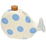 Caffco International M.Bagwell Ceramic Whale Coin Bank White with Blue Dots