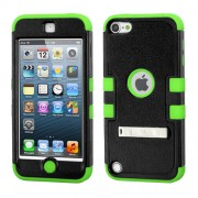 Funda Protector Triple Layer Apple Ipod Touch 5G / 6G Negro / Verde c/pie metalico