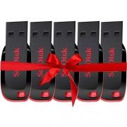 SanDisk Blade SDCZ50-008G 8GB Pen Drive, Pack Of 5 (Red & Black)